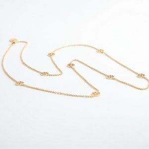 Tory Burch Golden Round Multi Logo Long Necklace